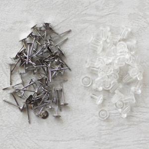 大袋 皿付きピアス金具 4mm ステンポスト 100ペア|coeur
