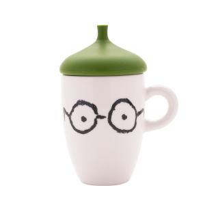 マグカップ ふた付き カーキグリーン メガネ 眼鏡 おしゃれ 蓋付マグカップ 人気 プチギフト|coeurfacteur