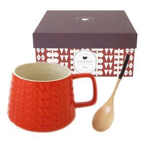 スープカップ おしゃれ スープマグカップ レッド レリーフ プレゼント|coeurfacteur