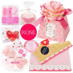 誕生日プレゼント 入浴剤 ローズ バスギフト 今治タオルハンカチ 造花付BOXの画像