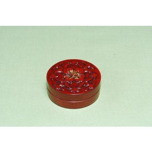 鎌倉彫 香合 金飾(筒型)2.3寸