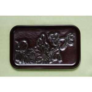 鎌倉彫 切手盆 菊