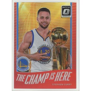Stephen Curry 17/18 Panini Donruss Optic The Champ is Here Red Prizm 16/99 coletre