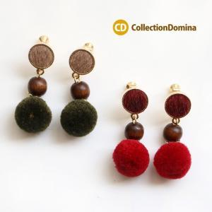 イヤリング 毛糸ボール 赤 緑 フェイクファー ネジバネ式 collec