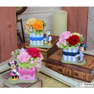 プリザーブドフラワー ディズニーキャラクターアレンジ  ミッキー・ミニー・ドナルド三種 敬老の日 誕生日祝い 結婚祝い 贈り物|collecolle