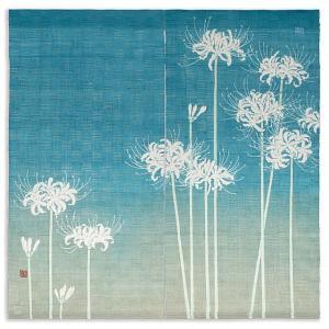 京都洛柿庵 手描き ますのれん 白彼岸花 夏の飾り 新築 引っ越し 開店祝い|collecolle