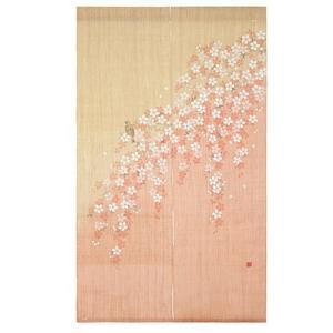 京都洛柿庵 日本製手染め麻のれん 桜に四十雀|collecolle