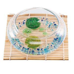 夕涼みセット カエルの親子 コースター付き夏の飾り お部屋インテリア 涼しげなガラス製品|collecolle