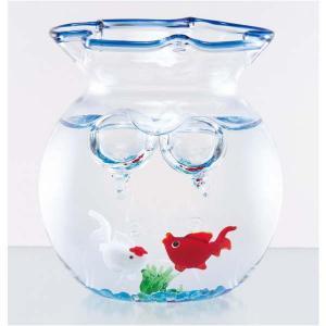 涼しげなガラス製品 小さな青の金魚鉢セット 赤&白 夏の飾り お部屋インテリア 父の日 敬老の日 プレゼント|collecolle