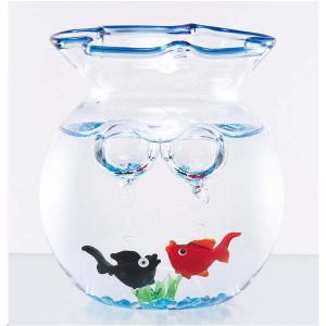 涼しげなガラス製品 小さな青の金魚鉢セット 赤&黒 夏の飾り お部屋インテリア 父の日 敬老の日 プレゼント|collecolle