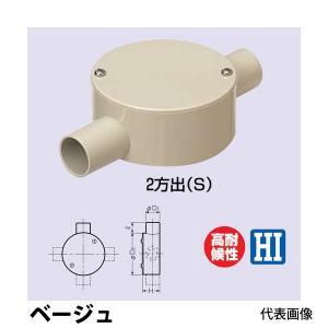 未来工業 露出用丸形ボックス 2方出 PVM16-2SJ ベージュ|collectas