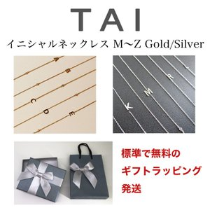 TAI JEWELRY ネックレス イニシャル M〜Z ゴールド シルバー SIDEWAY INITIAL GOLD SILVER NECKLACE WITH CZ ACCENTS LETTER タイ ジュエリー|collectioncasestore