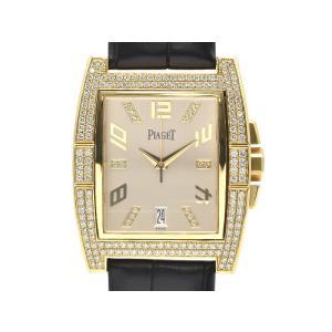 [3年保証] ピアジェ メンズ アップストリーム K18YG OH/新品仕上済 ダイヤベゼル 革ベルト シルバー文字盤 自動巻き 腕時計 中古 送料無料 collectionshiba