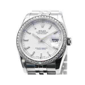 [3年保証] ロレックス メンズ デイトジャスト 116244 ランダム番 K18WG OH/仕上済 ベゼルダイヤ 白文字盤 自動巻き 腕時計 中古 送料無料|collectionshiba