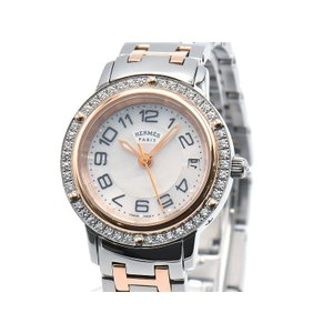 [3年保証] エルメス レディース クリッパー CP1.222 ダイヤベゼル 新品仕上済 ホワイトシェル文字盤 コンビ クオーツ 腕時計 中古 送料無料 collectionshiba