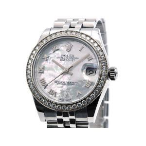 [3年保証] ロレックス ボーイズ デイトジャスト 178384NR ランダム番 K18WG ダイヤベゼル シェル文字盤 自動巻き 腕時計 中古 送料無料 collectionshiba
