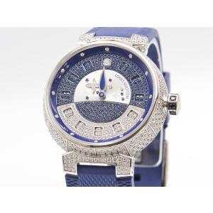 [3年保証] ルイヴィトン メンズ タンブール スピンタイム Q11C8 K18WG ダイヤ 裏スケ ジャンピングアワー 自動巻き 腕時計 中古 送料無料|collectionshiba