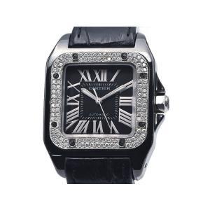 [3年保証] カルティエ メンズ サントス100 カーボン W2020010 チタン 黒文字盤 アフターダイヤベゼル 自動巻き 腕時計 中古 送料無料 collectionshiba