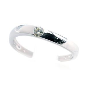 約0.1ct天然ダイヤリング 22号 K18WG ホワイトゴールド 新品仕上げ済 ウェーブ 1粒ダイヤ 一粒ダイヤ 1Pダイヤ 結婚指輪 中古 送料無料|collectionshiba