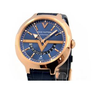 ルイヴィトン メンズ ヴォヤジャー GMT Q7E30 K18PG 青文字盤 裏スケ 革ベルト 自動巻き 腕時計 中古 送料無料|collectionshiba