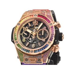 [3年保証] ウブロ メンズ ビッグバン ウニコ キングゴールド レインボー 411.OX.9910.LR.0999 クロノグラフ 自動巻き 腕時計 中古 送料無料 collectionshiba