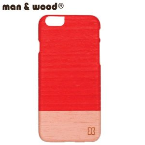 man&wood マン&ウッド iPhone6用 ハードケース  MW-M1483 Little Peach  天然木使用 ホワイトフレーム|collectors
