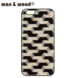 man&wood マン&ウッド iPhone6用 ハードケース  ikins 天然貝 Cube MW-K1322 ブラックフレーム|collectors