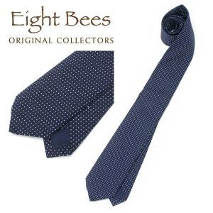 【限定商品】EIGHT BEES エイトビーズ (COLLECTORSオリジナルブランド)カジュアル ネクタイ 15913300 ドット柄 NAVY|collectors