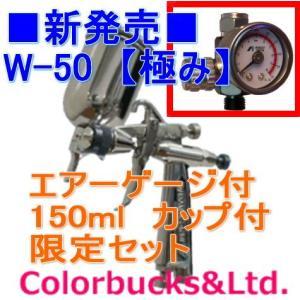 W-50-136BGC アネスト岩田 極みシリーズ 青 1.3口径 重力式 (新型カップ付) 【エアーゲージプレゼント】