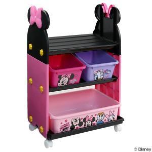 おもちゃ 収納ラック 3段 ミニーマウス トイステーション ( 収納 棚 収納ボックス おもちゃ箱 ...