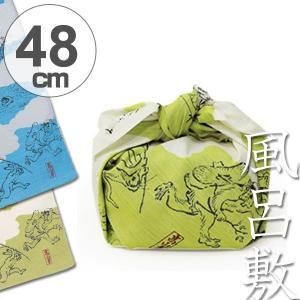 風呂敷 中巾 チーフ 鳥獣人物戯画 48cm ふろしき ナフキン ランチクロス 綿100% ( 綿 祝儀 ご祝儀 袱紗 ふくさ 包み )|colorfulbox