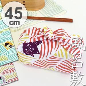 風呂敷 中巾 チーフ こはれ ねこととり 45cm ふろしき ナフキン ランチクロス 綿100% ( 綿 包み お弁当包み 猫 ねこ ネコ グッズ )|colorfulbox
