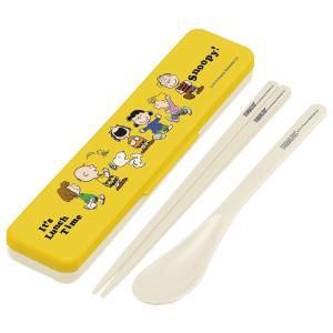 コンビセット 箸・スプーン スヌーピー ランチタイム 音の鳴らないクッション付 18cm ( 食洗機対応 はし ケース付き )|colorfulbox