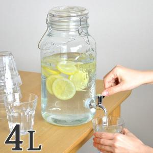 ドリンクサーバー 4L ガラス 蛇口付き ( 梅酒 果実酒 ウォーターサーバー ガラス瓶 ガラス製 ...