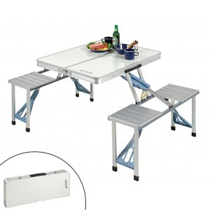 ピクニックテーブル アルミ製 4人用 テーブル・チェア一体型 折り畳み式 ( ファミリーテーブル アウトドアテーブル 持ち運び ) colorfulbox