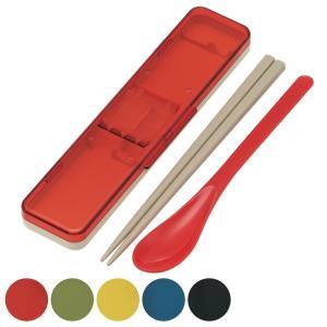 コンビセット 箸・スプーン レトロフレンチカラー 音の鳴らないクッション付 18cm ( 食洗機対応 はし ケース付き )|colorfulbox
