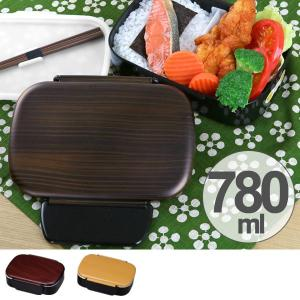 弁当箱 1段 BIG タイトランチ 木目調 仕切り 木箸付き 780ml ( お弁当箱 ランチボックス 日本製 )|colorfulbox