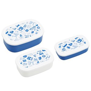 弁当箱 シール容器 HALEIWA 総柄 ブルー 3個入 日本製 ( お弁当箱 保存容器 フルーツケース ) colorfulbox