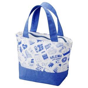 ランチバッグ 保冷 HALEIWA 総柄 ブルー ファスナータイプ ( トートバッグ 保冷バッグ クーラーバッグ )|colorfulbox