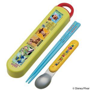 スリムコンビセット 箸・スプーン トイ・ストーリー 音が鳴らないスライド式  ( 食洗機対応 お弁当グッズ 子供用お箸 )|colorfulbox