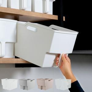 キッチン収納ケース 吊り戸棚ボックスワイド 幅24cm ( 収納ボックス 整理ケース 取っ手付き )の写真