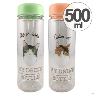 水筒 クリアボトル ウォーターボトル ネコ 500ml ( すいとう ボトル マグボトル )|colorfulbox