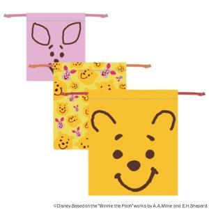 巾着3枚セット くまのプーさん フェイス ( 巾着 セット 巾着袋 )|colorfulbox