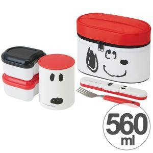 保温弁当箱 保温ジャー付きランチボックス スヌーピー フェイス 560ml 保温 保冷 フォーク付き ( お弁当箱 ランチボックス 超軽量 )|colorfulbox
