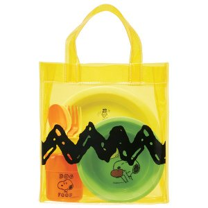 食器セット 行楽ランチセット スヌーピー フェイス プレート ボウル コップ カトラリーセット バック付き ( BBQ プラスチック製 アウトドア )|colorfulbox