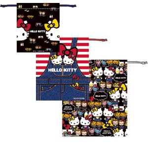 巾着3枚セット ハローキティデニム ( 巾着 セット 巾着袋 )|colorfulbox
