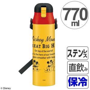水筒 ミッキーマウス 直飲み ワンプッシュステンレスボトル 770ml ミッキーチアフル ( ステンレスボトル 保冷 超軽量 )|colorfulbox