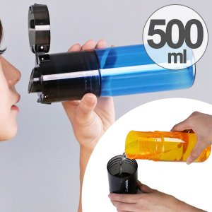 水筒 ウォーターボトル トライタンボトル 500ml 2WAY コップ付き ( 直飲み水筒 ワンタッチオープン クリアボトル )|colorfulbox