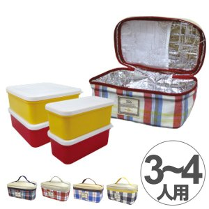 お弁当箱 行楽弁当箱 ピクニックポーチセット 256(ニコロ) 2段 3800ml チェック ( 運動会 お重 ランチボックス )|colorfulbox