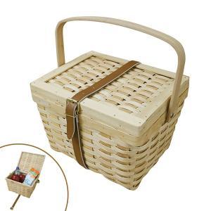 バスケット 木製 ホルツ 1ステップ バスケット ベルト付き ( ふた付き レジャー アウトドア )|colorfulbox